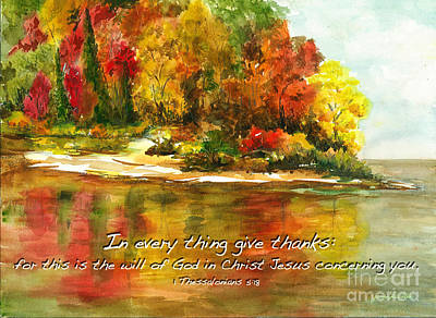 Autumn Lake 1 Thessalonians 5  Print by Janis Lee Colon