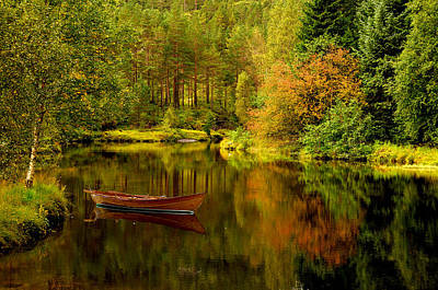 Fall Photograph - Autumn Lake With Boat by Gry Thunes