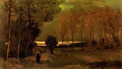 Autumn Landscape At Dusk 1885 Print by Vincent Van Gogh
