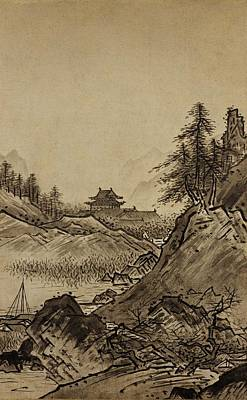 Beach House Drawing - Autumn Landscape Sesshu Toyo 1496 by Movie Poster Prints