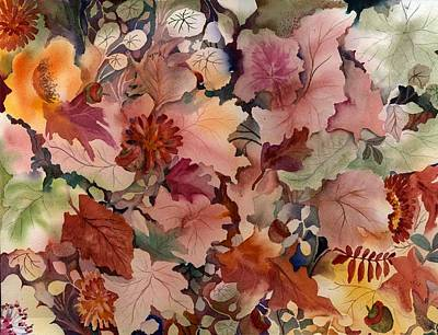 Forest Floor Painting - Autumn Leaves And Flowers by Neela Pushparaj