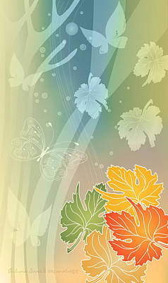 Autumn Leaves II Print by Gayle Odsather