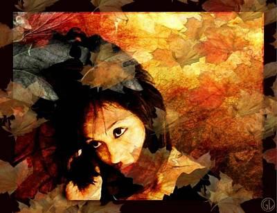 Autumn Leaves Whirling Print by Gun Legler