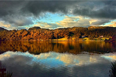 Pink Black Tree Rainbow Photograph - Autumn Light On Lake Grasmere by Adrian Campfield