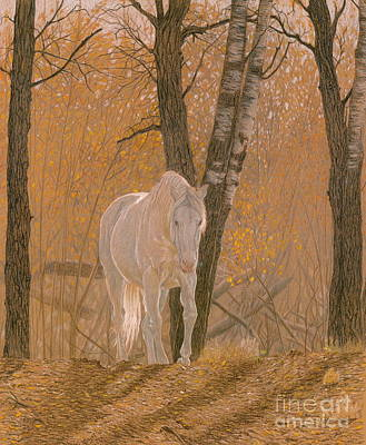 Horses Drawing - Autumn Magic by Laura Klassen