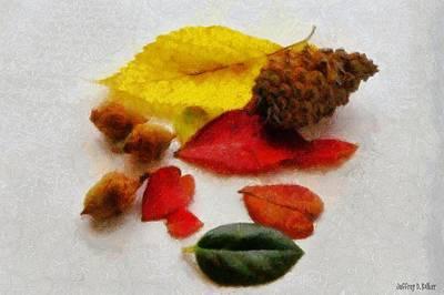 Acorn Digital Art - Autumn Medley by Jeff Kolker