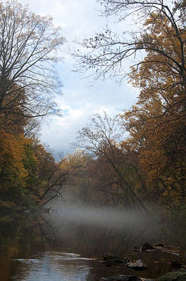 Autumn Mist On The Wissahickon Creek Print by Bill Cannon