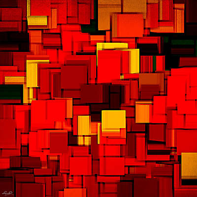 Red Abstract Digital Art - Autumn Modern Abstract Xv by Lourry Legarde