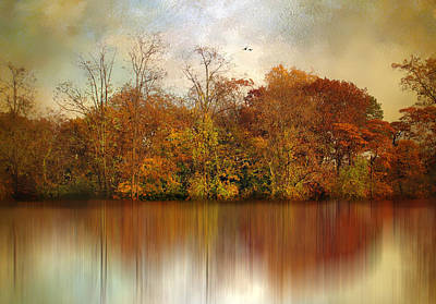Rural Digital Art - Autumn On A Pond by Jessica Jenney