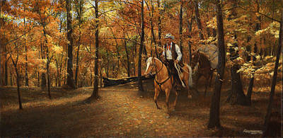 Autumn On Greensfelder Trail Print by Don  Langeneckert