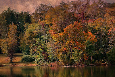 Autumn On The Lake Print by Deena Stoddard
