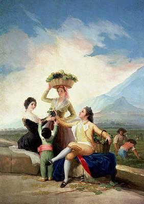 Women Tasting Wine Photograph - Autumn, Or The Grape Harvest, 1786-87 Oil On Canvas by Francisco Jose de Goya y Lucientes