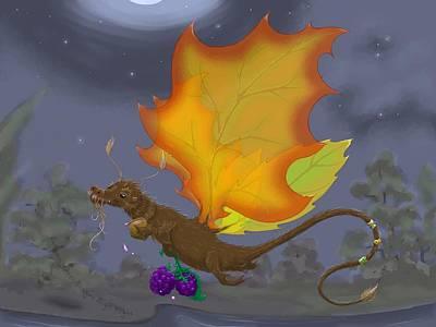 Otter Mixed Media - Autumn Otter Dragon by Kathi Day