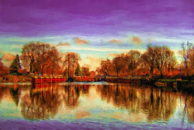 Autumn Park Print by Ayse Deniz