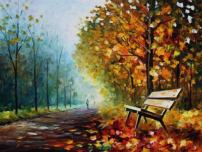 Park Benches Painting - Autumn Park - Palette Knife Oil Painting On Canvas By Leonid Afremov by Leonid Afremov