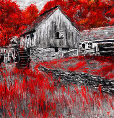 Red Barn. New England Painting - Autumn Promise- Red And Gray Art by Lourry Legarde