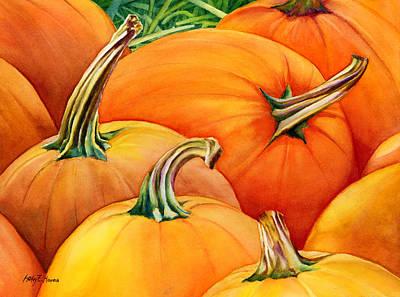 Harvest Deco Painting - Autumn Pumpkins by Hailey E Herrera