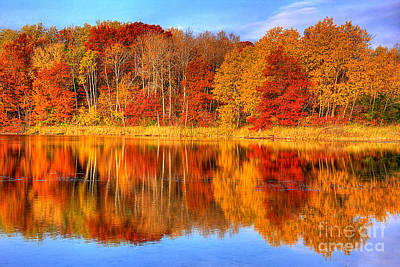 Autumn Reflections Minnesota Autumn Print by Wayne Moran