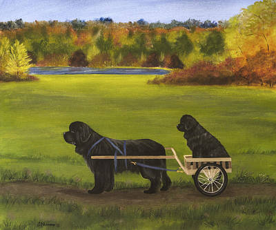 Newfie Painting - Autumn Ride by Sharon Nummer