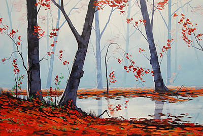 Fiery Painting - Autumn River Painting by Graham Gercken