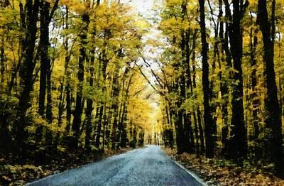 Vintage Photograph - Autumn Road by Michelle Calkins