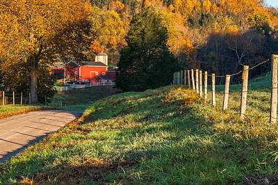 Red Barn. New England Photograph - Autumn Road Morning by Bill Wakeley