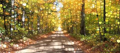 Mosaic Mixed Media - Autumn Road Mosaic by Dan Sproul