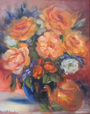 Autumn Roses Original by Karin  Leonard