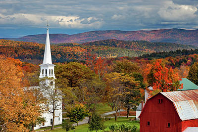 Autumn Scene In Peacham, Vermont, Usa Print by Brian Jannsen