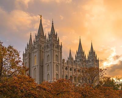 Salt Lake City Temple Photograph - Autumn Splendor by Dustin  LeFevre