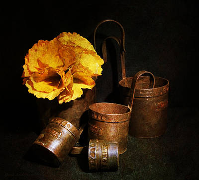 Autumn Still Life With A Flower From  Ginkgo Leaves And Vintage Measuring Cups.  Print by Guna  Andersone