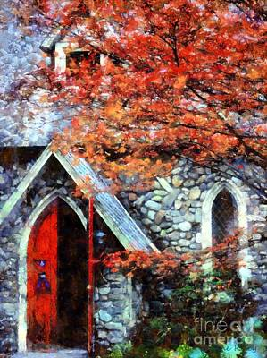 Autumn Stone Church Print by Janine Riley