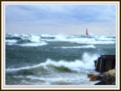 Lake Michigan Drawing - Autumn Storm At Muskegon Pier Waves Tumbling And Crashing In by Rosemarie E Seppala