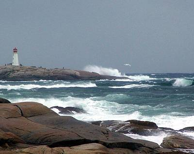 Granite Mixed Media - Autumn Storm At Peggy's Cove by Janet Ashworth