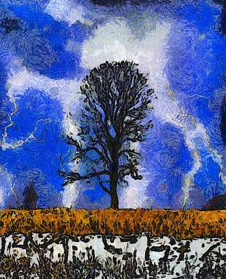 Lightning D Painting - Autumn Storm On The Farm by Dan Sproul