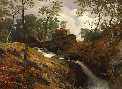Footbridge Painting - Autumn Stream by Mountain Dreams