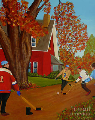 Autumn Street Hockey Print by Anthony Dunphy