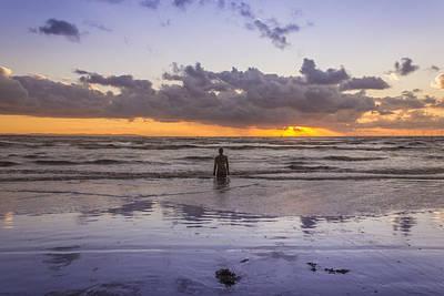 Autumn Sunset At Crosby Beach Print by Paul Madden