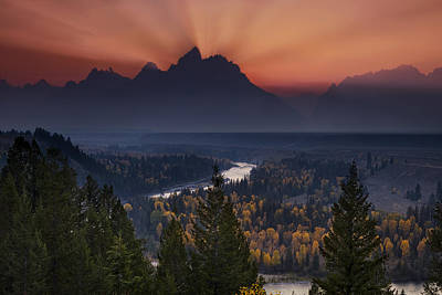 Mountain Photograph - Autumn Sunset At The Snake River Overlook by Andrew Soundarajan
