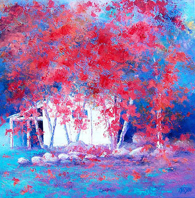Garden Scene Painting - Red Autumn Trees By Jan Matson by Jan Matson