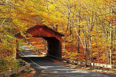 Autumn View Of Covered Bridge At Sleeping Bear National Lakeshore Print by Terri Gostola
