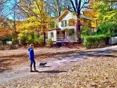 Dog Photograph - Autumn - Walking The Dog by Susan Savad