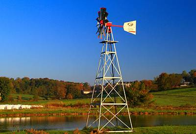 Amish Farmer Photograph - Autumn Windmill Side View by Dan Sproul