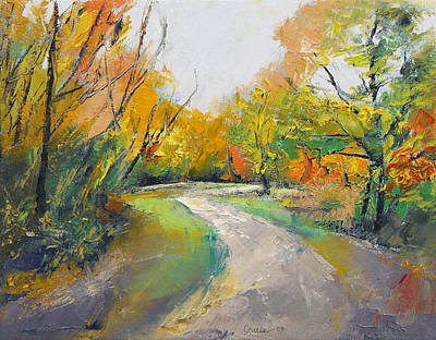 Arbres Painting - Autumn Woodland Path by Michael Creese