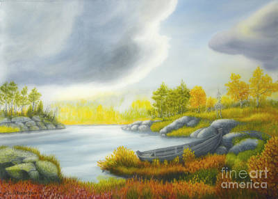 Colorful Contemporary Painting - Autumnal Landscape by Veikko Suikkanen
