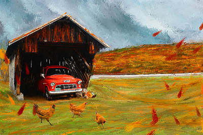 Red Barn. New England Painting - Autumnal Restful View-farm Scene Paintings by Lourry Legarde