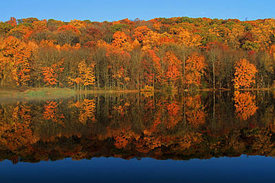 Autumns Colorful Reflection Print by Karol Livote