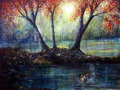 River Painting - Autumn's Welcome by Ann Marie Bone