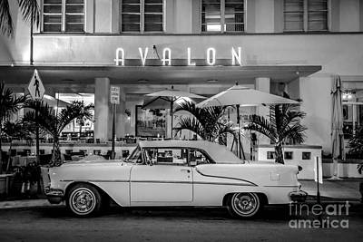 Avalon Hotel And Oldsmobile 88 - South Beach - Miami - Black And White Print by Ian Monk