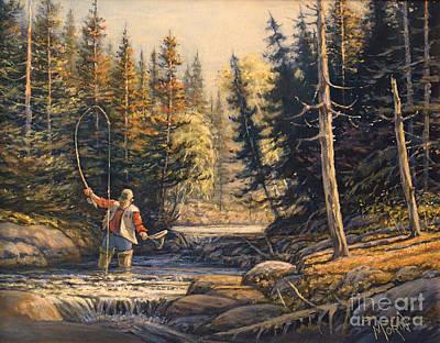 Canadiens Painting - Avec La Bonne Mouche by Pierre Morin